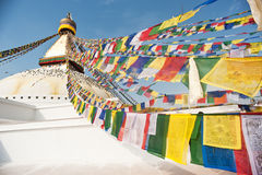 The largest stupa, prayer flags, Nepal Royalty Free Stock Photos
