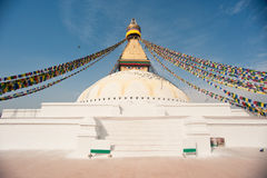 The largest stupa, prayer flags, Nepal Royalty Free Stock Image