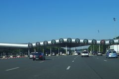 Highway A10 - Barrier de Saint-Arnoult. The largest toll plaza. stock images
