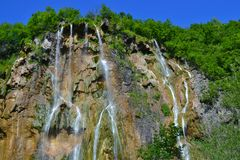 The largest waterfall on Plitvice lakes royalty free stock photos