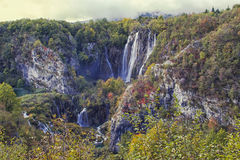 Plitvice Lakes. The largest waterfall on Plitvice lakes in october, Ctoatia stock image