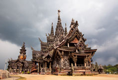 Largest wooden temple Sanctuary of Truth situated. PATTAYA, THAILAND - DECEMBER 16: Largest wooden temple Sanctuary of Truth situated of north of Pattaya on 16 Royalty Free Stock Photos