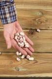 Largeur caucasienne de main du ` s d'homme complètement des haricots frais photo libre de droits