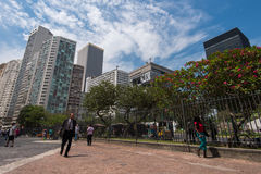 Largo da Carioca Square in Rio de Janeiro. Rio de Janeiro, Brazil - November 22, 2016: Largo da Carioca square in the city center is surrounded by business stock images