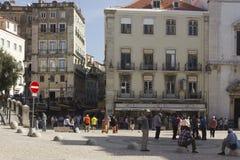 Largo de Sao Domingos square in Lisbon Royalty Free Stock Images
