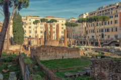 Largo di Torre Argentina. Is a square in Rome, Italy, that hosts four Republican Roman temples, and the remains of Pompeys Theatre. It is located in the ancient Royalty Free Stock Images