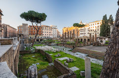 Largo di Torre Argentina at sunrise, Rome, Italy. Nobody at Largo di Torre Argentina at sunrise, Rome, Italy Stock Images