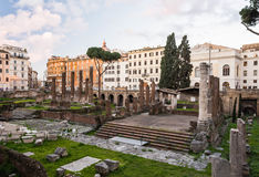 Largo di Torre Argentina at sunrise, Rome, Italy. Nobody at Largo di Torre Argentina at sunrise, Rome, Italy Stock Image