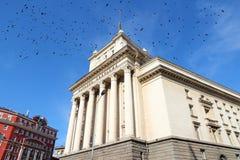 Largo, Sofia. Largo - parliament building in Sofia, Bulgaria. Ominous black crows stock images