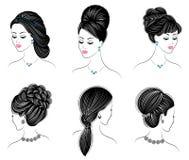 Largo trenza el pelo marr?n creativo, aislado en el fondo blanco Peinados de una mujer Conjunto de ilustraciones del vector libre illustration