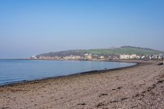 Largs Bay Looking North out towards Aubery & Knock Hill in the Town of Largs on the West Coast of Scotland. Largs bay Looking North out towards Aubery and Knock stock photography