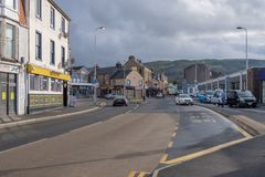 Largs Mini-Roundabout on Main Street with Very Light Traffic. royalty free stock images