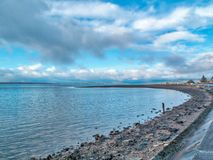 Largs North Esplanade, Aubery and towards the hills in the Dista. Largs North Esplanade and towards the hills in the Distance on a cold Boxing day in largs 2017 Stock Photo