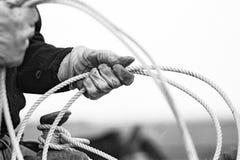 Lariat. Professional roper preparing his loop Stock Photos