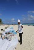 Larimar för kock som från och med nu All-inklusive hotell får klart att tjäna som mat på stranden i Punta Cana Royaltyfri Fotografi