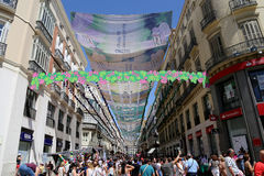 Larios street, the main street of Malaga, Andalusia, Spain Stock Images