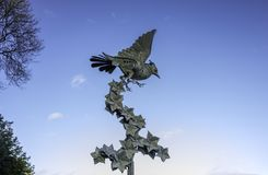 Lark Ascending in Malvern. `The sculpture is of a skylark, a small bird associated with the Malvern Hills and is inspired by Vaughan Williams` musical setting of Stock Photography