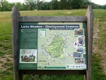 Larks Meadow, Chorleywood Common Local Nature Reserve sign stock photography