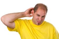 Larme de jeune homme à à un cheveu image stock