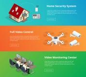 Larmsystem Säkerhetssystem säkerhet för kameracopyspace alldeles Säkerhetskontrollrum Ordningsvaktövervakning Fjärrstyrt hem Royaltyfri Foto