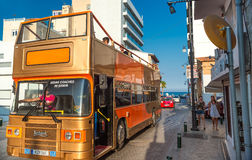 LARNACA, CYPRUS - AUGUST 27, 2016: Open Sightseeing Tour Bus on Royalty Free Stock Images