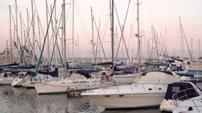 LARNACA, CYPRUS - CIRCA February 2017: Boats parked at the pier of Larnaca stock video