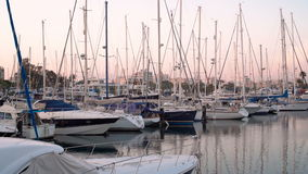 LARNACA, CYPRUS - CIRCA February 2017: Boats parked at the pier of Larnaca stock footage