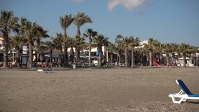 LARNACA, CYPRUS - CIRCA February 2017: Empty closed for winter beach cafe during off-season on Cyprus stock footage