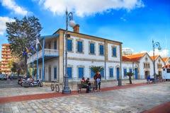 Larnaca Municipal Art Gallery on Europe Square in Larnaca, Cyprus. LARNACA, CYPRUS - JANUARY 6, 2018: Larnaca Municipal Art Gallery on Europe Square in Larnaca stock image