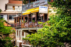 LARNACA, CYPRUS - JUNE 3, 2016: Restaurant in the popular tourist village of Kakopetria. Nicosia District, Cyprus Royalty Free Stock Image