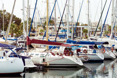 LARNACA, CYPRUS - MARCH 03, 2016: Numerous fishing and yachts mo. Ored in marina royalty free stock photography