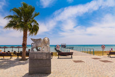Free LARNACA, CYPRUS - MAY 29, 2014 : View On The Winged Lion Statue On The Promenade At Foinikoudes, In The South Coast Town Of Larnac Royalty Free Stock Image - 95757516