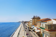 Larnaca main street. Sea promenade Royalty Free Stock Images