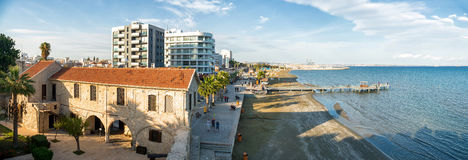 LARNAKA, CYPRUS - NOVEMBER, 30 2014: Panoramic view of Finikoude. S from the roof of medieval castle Royalty Free Stock Photography