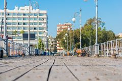 Larnaka finikoudes boardwalk port fotografia stock