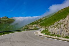 Larrau pyrenees port. Spanish side with clouds on top royalty free stock photos
