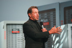 Larry Ellison bildet Rede an Oracle OpenWorld Stockbilder
