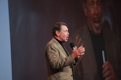 Larry Ellison makes speech at Oracle OpenWorld Royalty Free Stock Photo