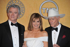 Larry Hagman, Patrick Duffy, Linda Grey Stock Photo