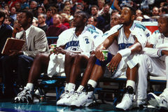 Larry Johnson e Alonzo Mourning, Charlotte Hornets Immagini Stock