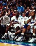 Larry Johnson en Alonzo Mourning, Charlotte Hornets stock afbeelding