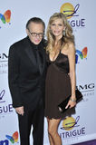 Larry King, Shawn Southwick. Larry King & wife Shawn Southwick at music mogul Clive Davis' annual pre-Grammy party at the Beverly Hilton Hotel. February 9, 2008 royalty free stock photos