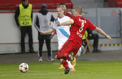 Lars Bender and Alexandre Anioukov Bayer 04 Leverkusen v Zénith Saint-Pétersbourg Champion League Stock Photography