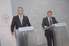 lars Lokke Rasmussen u. Sergey Lavrov (L) Lizenzfreies Stockbild