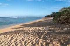 Larsens plaża na wschodnim wybrzeżu Kauai zdjęcie stock