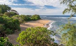 Larsens plaża na wschodnim wybrzeżu Kauai fotografia royalty free
