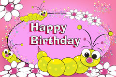 Larva e fiori - scheda di compleanno illustrazione vettoriale