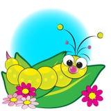 Larva sui fogli con i fiori - illustrazione dei bambini Fotografia Stock