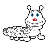 Larva worm and apple cartoon coloring page for toddle. Image of larva worm cartoon coloring page for toddle Royalty Free Stock Photography