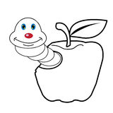 Larva worm and apple cartoon coloring page for toddle. Image of larva worm cartoon coloring page for toddle Stock Images